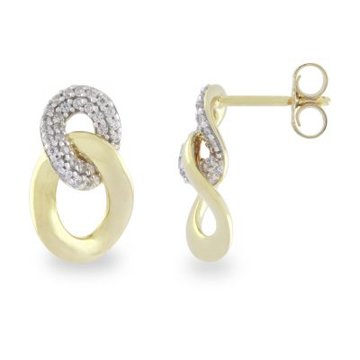 VILMAS stud earrings Burning Desire: Gold plated earrings with white stones and 925er sterling silver