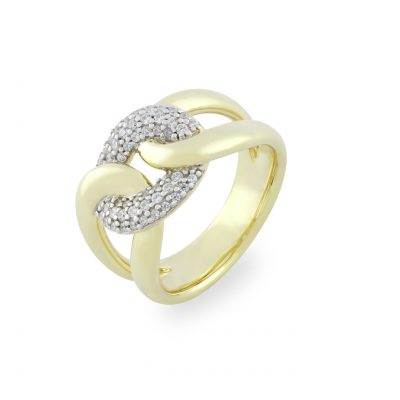 VILMAS ring Burning Desire: 925er sterling silver ring with gold plating and white stones