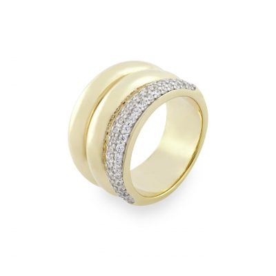 VILMAS ring Secret Kiss: Wide ring with white stones and gold plated 925er sterling silver