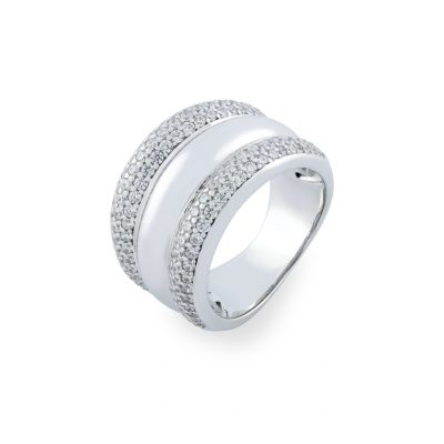 VILMAS ring Secret Kiss: Wide silver ring with white stones