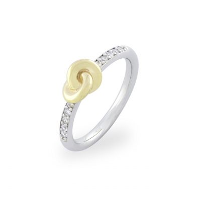 VILMAS ring Beat: Slim infinity ring with gold plated 925er sterling silver and white crystals