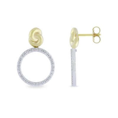 VILMAS earrings Beat: 925er sterling silver earrings shaped like an infinity sign, gold plated with white stones