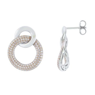 VILMAS earrings Secret Kiss: Round hanging silver earrings with rose gold plating and white stones
