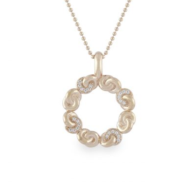 VILMAS pendant Groove: Infinity sign pendant with rose gold plating and white stones