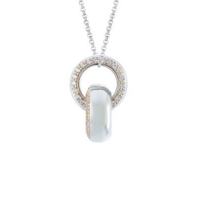 VILMAS pendant Spotlight: Silver pendant with rose gold plating and white crystals