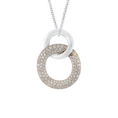 VILMAS pendant Secret Kiss: Round 925er sterling silver necklace pendant with rose gold plating and white crystals